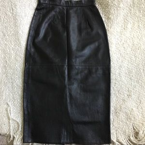 Vintage black leather skirt